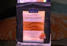 Regal manuka smoked salmon is New Zealand King Salmon sliced and cured with salt and natural woodsmoke.