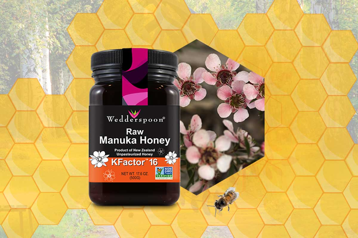 Wedderspoon KFactor16 is raw manuka honey sourced unpasteurized directly from New Zealand.