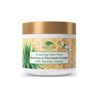 Green Leaf Aloe Vera Eczema Psoriasis Cream Manuka Honey (4 oz)