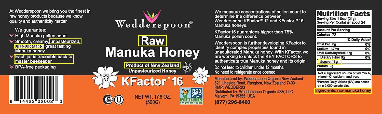 Wedderspoon raw manuka honey label