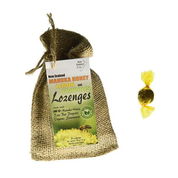 New Zealand 4 You Manuka Honey Lozenges with Lemon and Bee Propolis, 20 Count