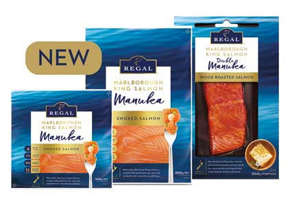 New packaging of Regal Smoked Manuka Salmon - 100g sliced, 200g sliced, 200g chunk