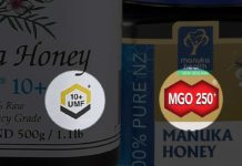 Types of manuka honey labels - UMF, MGO