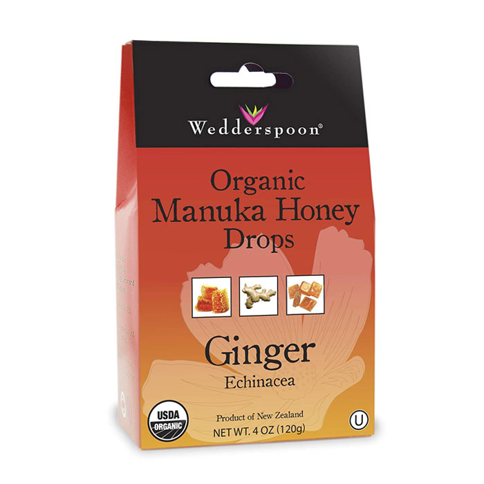 Wedderspoon Organic Manuka Honey Drops – Ginger with Echinacea (4.0 oz) 120g